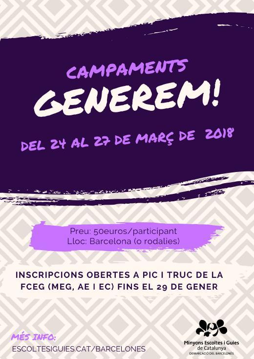 Cartell dels Campaments GENEREM! 2018